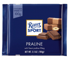 Ritter Sport Milk Chocolate Praline Bar 100g